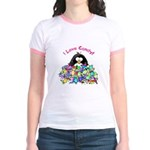 I Love Candy Penguin Jr. Ringer T-Shirt
