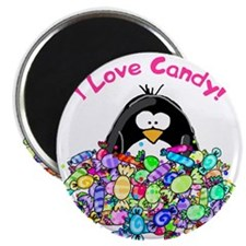 I Love Candy Penguin Magnet