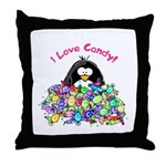 I Love Candy Penguin Throw Pillow