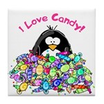 I Love Candy Penguin Tile Coaster