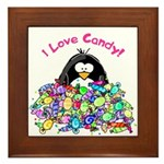I Love Candy Penguin Framed Tile