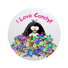 I Love Candy Penguin Ornament (Round)