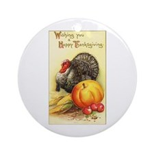 Wishing you A Happy Thanksgiving Ornament (Round)