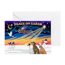 XmasSunrise/3 Greyhounds Greeting Cards (Pk of 10)