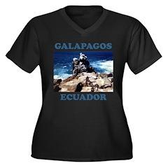 GALAPAGOS ECUADOR Women's Plus Size V-Neck Dark T-