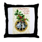 Bells and Holly Throw Pillow