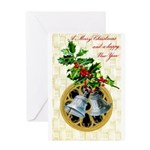 Bells and Holly Greeting Card