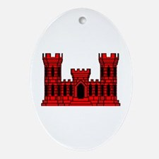 Red Castle Oval Ornament