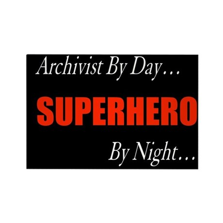 Superhero Archivist Rectangle Magnet