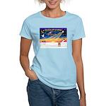 XmasSunrise/Yorkie 17 Women's Light T-Shirt