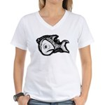 Jesse's Tree Fish Women's V-Neck T-Shirt
