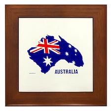 Australia Shape Flag Framed Tile