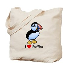 I Love Puffins Tote Bag
