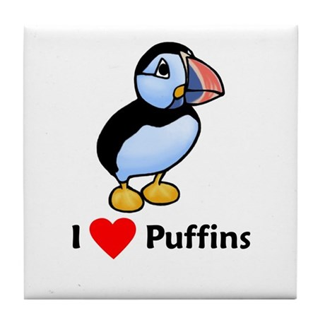 I Love Puffins Tile Coaster