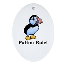 Puffins Rule! Oval Ornament