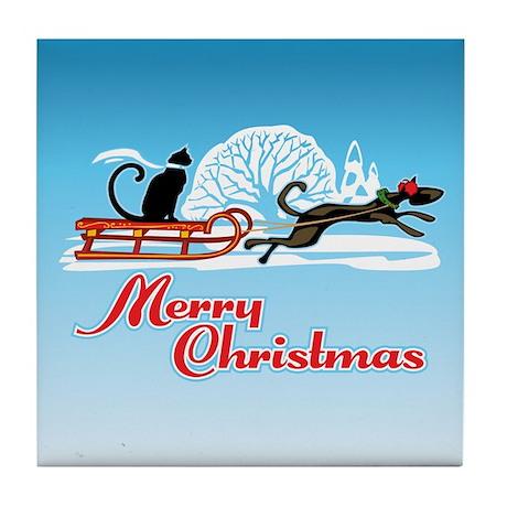 Christmas Pet Parade Tile Coaster