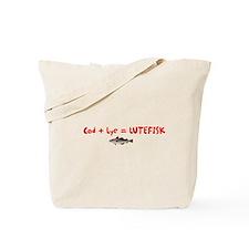 Cod + Lye = LUTEFISK Tote Bag