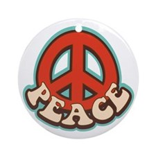 Hippy Peace Ornament (Round)