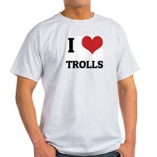I Love Trolls Ash Grey T-Shirt