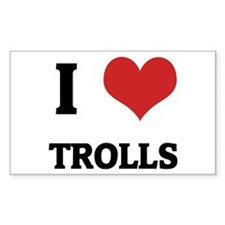 I Love Trolls Rectangle Decal