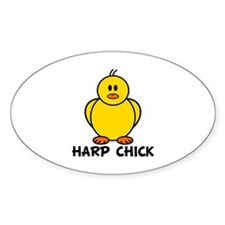 Harp Chick Oval Decal