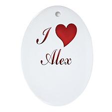 Cute I heart alex Oval Ornament