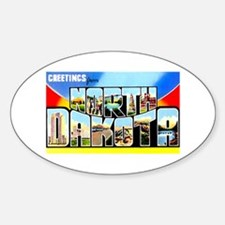 North Dakota Greetings Oval Decal