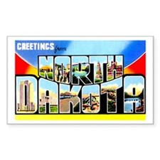 North Dakota Greetings Rectangle Decal