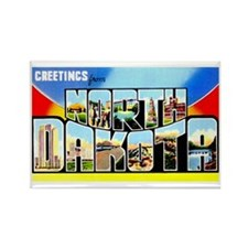 North Dakota Greetings Rectangle Magnet