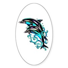 Jumping Dolphins Sea Life Oval Decal