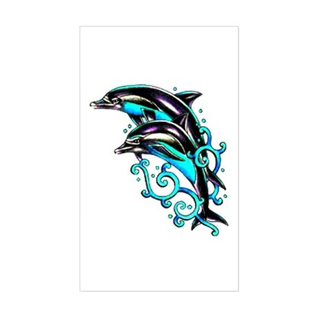 Jumping Dolphins Sea Life Rectangle Sticker
