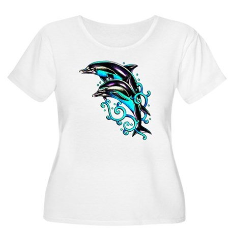 Jumping Dolphins Sea Life (Front) Women's Plus Siz