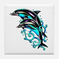 Jumping Dolphins Sea Life Tile Coaster