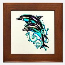 Jumping Dolphins Sea Life Framed Tile