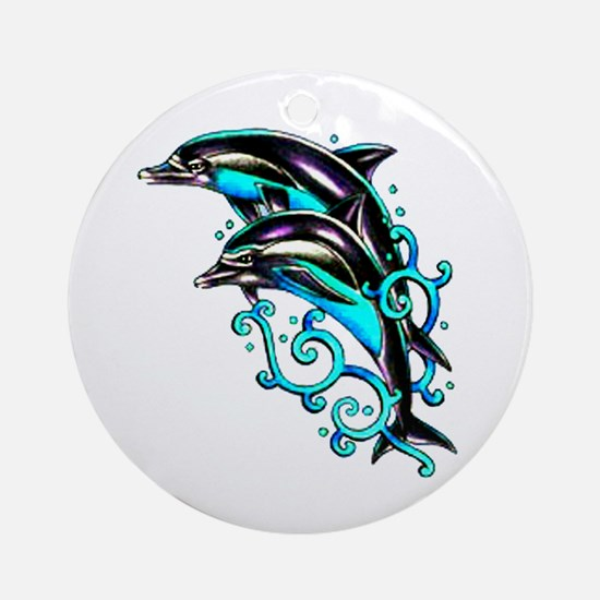Jumping Dolphins Sea Life Ornament (Round)