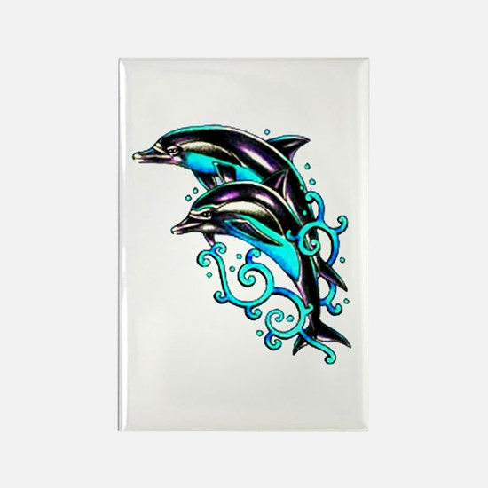 Jumping Dolphins Sea Life Rectangle Magnet
