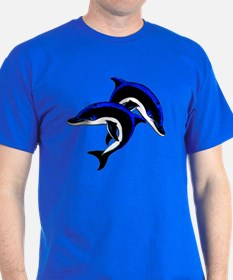 Twin Dolphins Animal Tattoo (Front) T-Shirt