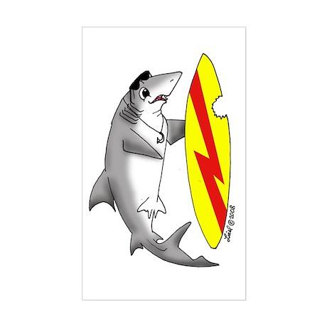 Surfing Shark Rectangle Sticker