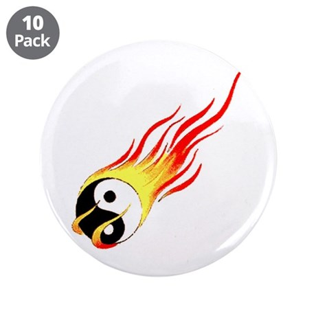 "Fiery Yin Yang Tattoo 3.5"" Button (10 pack)"