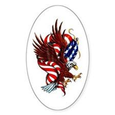 American Eagle Flag Tattoo Oval Sticker (10 pk)