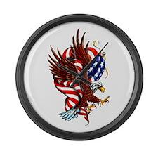 American Eagle Flag Tattoo Large Wall Clock