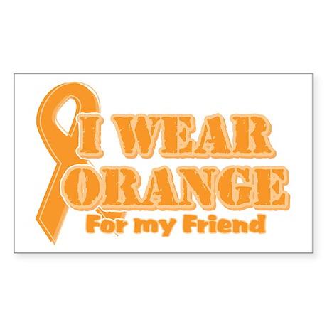 I wear orange friend Rectangle Sticker