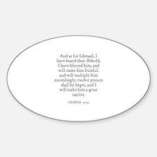 GENESIS 17:20 Oval Decal