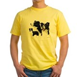 Border collies Mens Classic Yellow T-Shirts