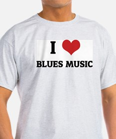 I Love Blues Music Ash Grey T-Shirt