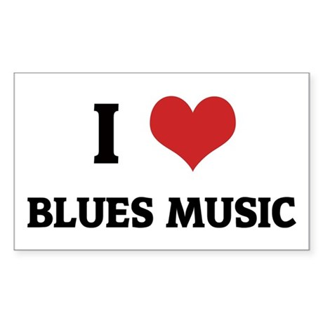 I Love Blues Music Rectangle Sticker