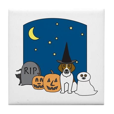 Beagle Halloween Tile Coaster