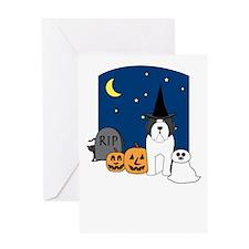 Beardie Howling Halloween Greeting Card