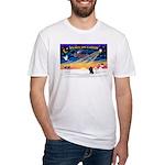 XmasSunrise/2 Poodles Fitted T-Shirt