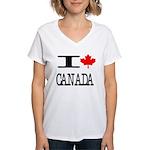 I Heart Canada Women's V-Neck T-Shirt